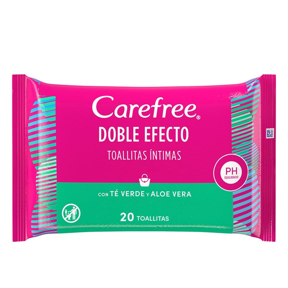 Carefree<sup>®</sup> Doble Efecto Toallitas Íntimas con Té Verde y Aloe Vera