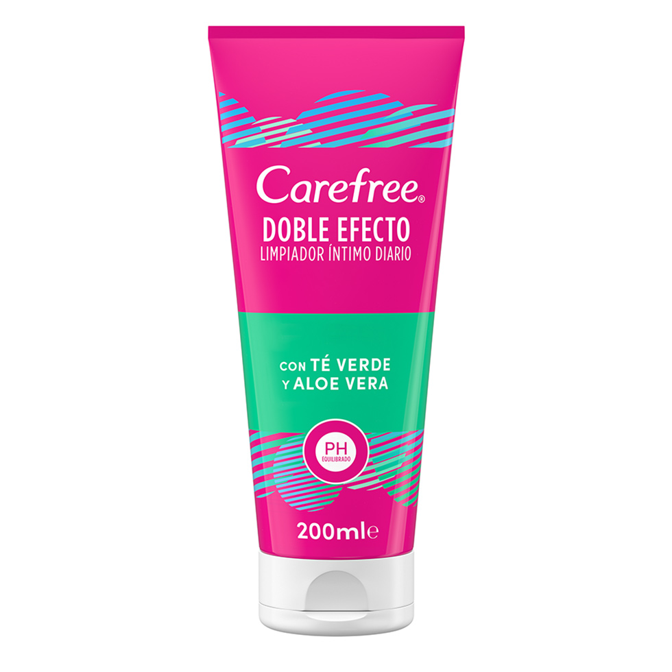 Carefree<sup>®</sup> Doble Efecto Limpiador Íntimo Diario con Té Verde y Aloe Vera