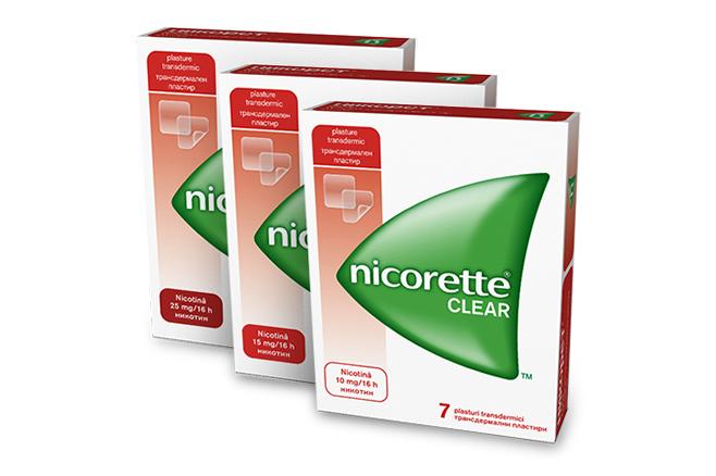 NICORETTE<sup>&reg;</sup> Clear 25 mg/16h; 15 mg/16h; 10 mg/16h plasturi transdermici